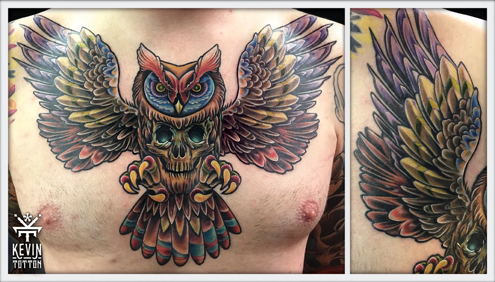 Something a little different with this owl chest design. Another free reign colour piece. Big bold solid piece that was a pleasure to have worked on.