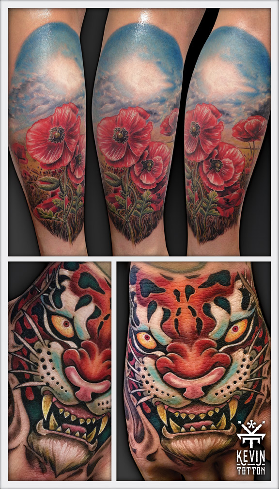 Memorial poppy tattoo on calf and tiger tattoo on back of hand.