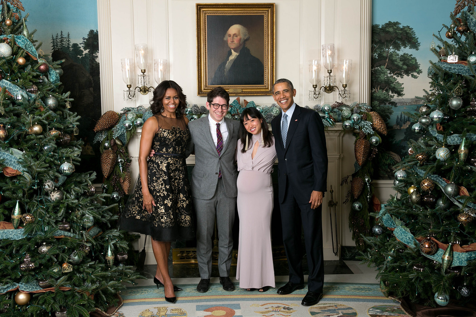 My (very pregnant) wife Jamie and I with the Obamas