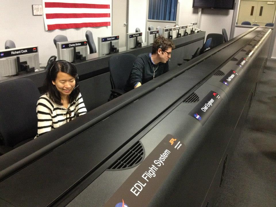 In the Curiosity Rover control room at Jet Propulsion Laboratories with Cindy Au