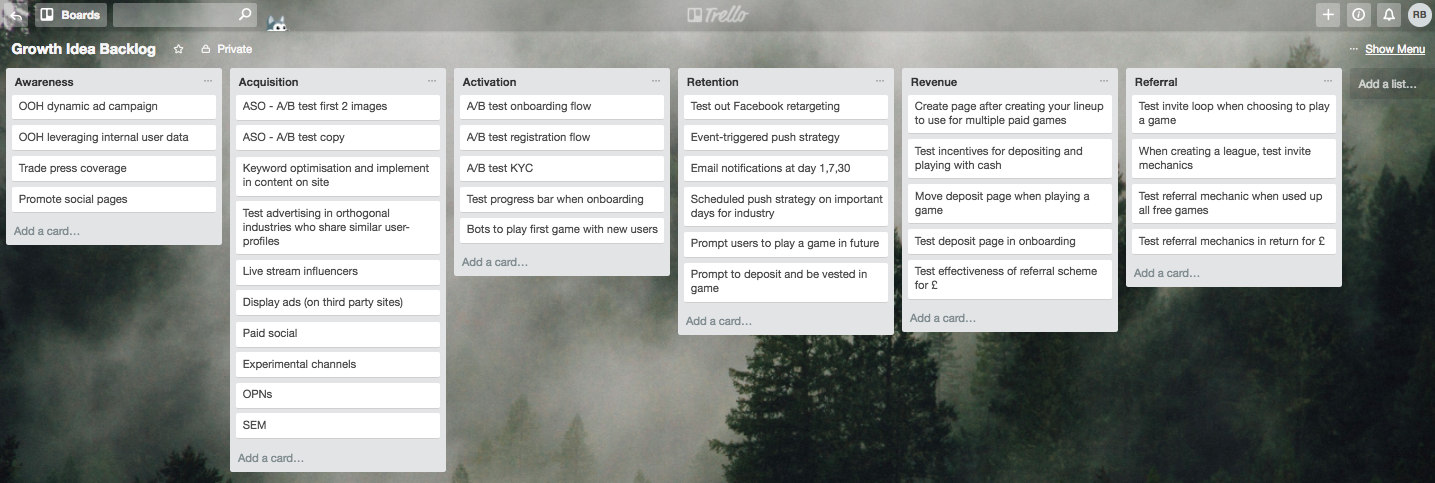 Trello board for backlogged ideas across the Pirate Metrics