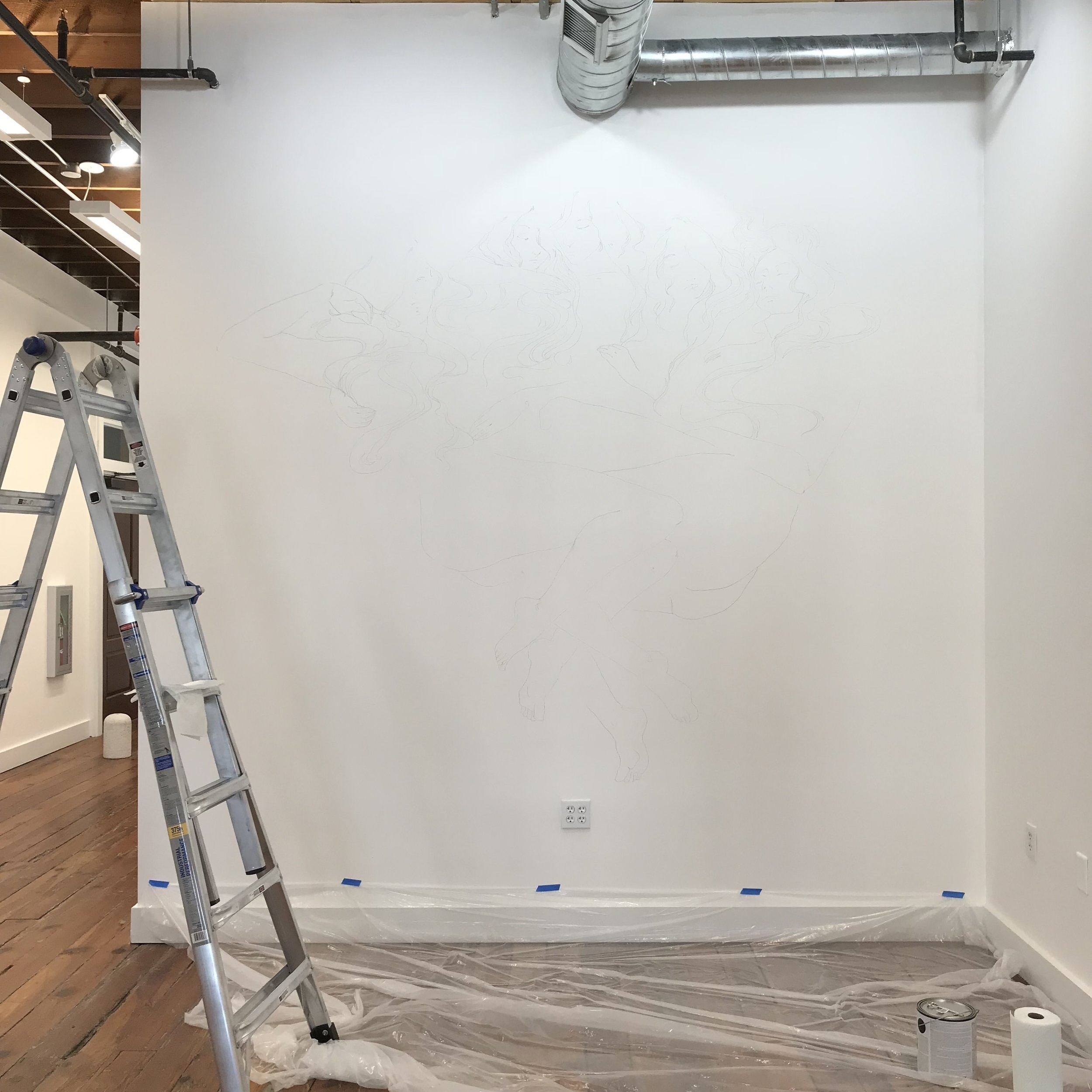 first step: draw the projected image onto the wall