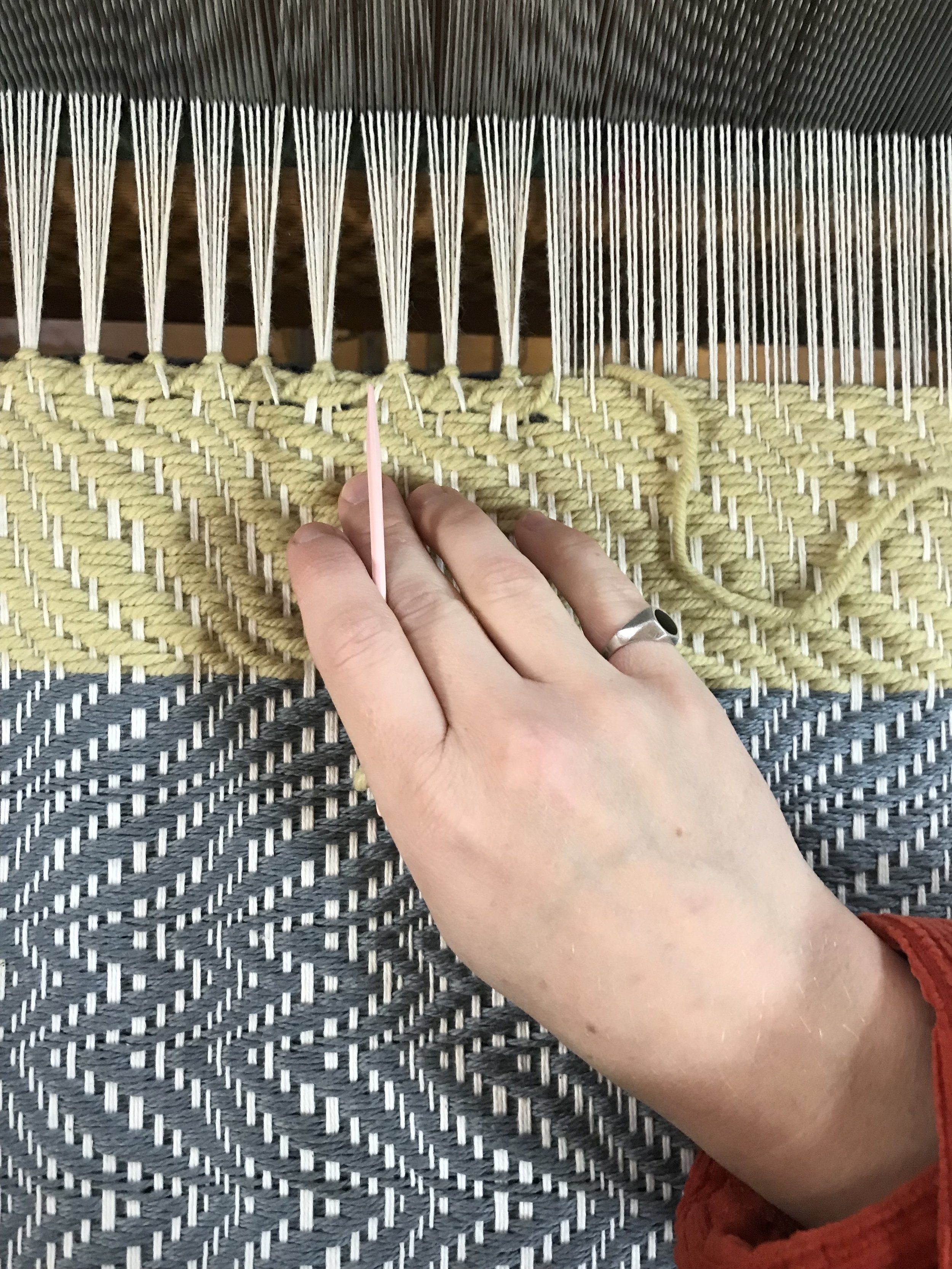 stitching the hem at the end