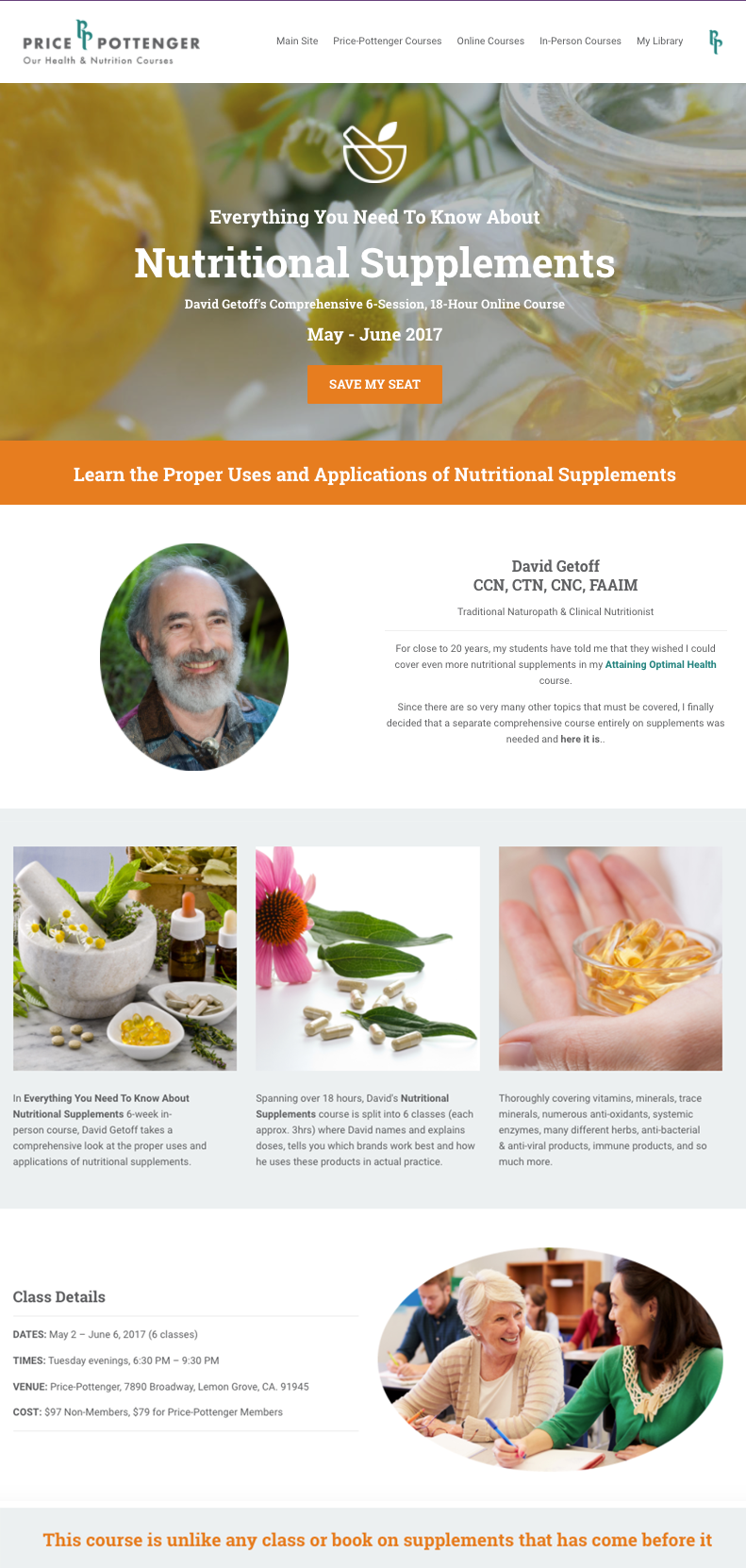 Nutritional Supplements - In-Person Course Sales Page