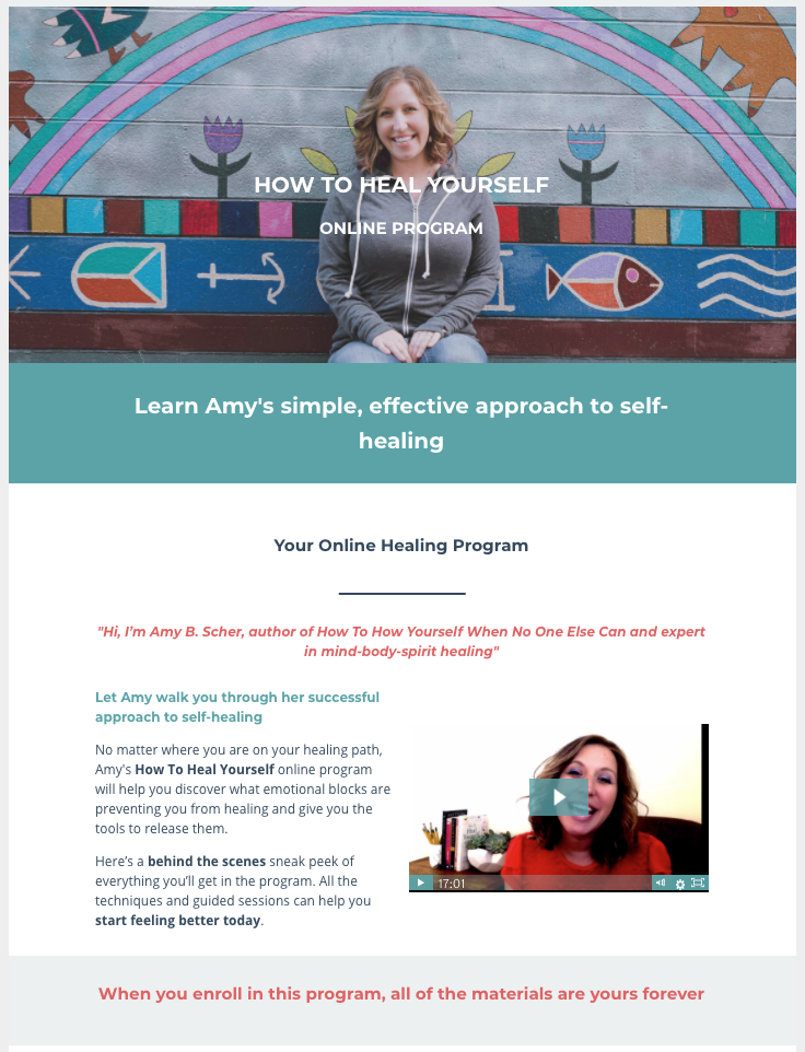 How To Heal Yourself When No One Else Can - Online Healing Program Sales Page