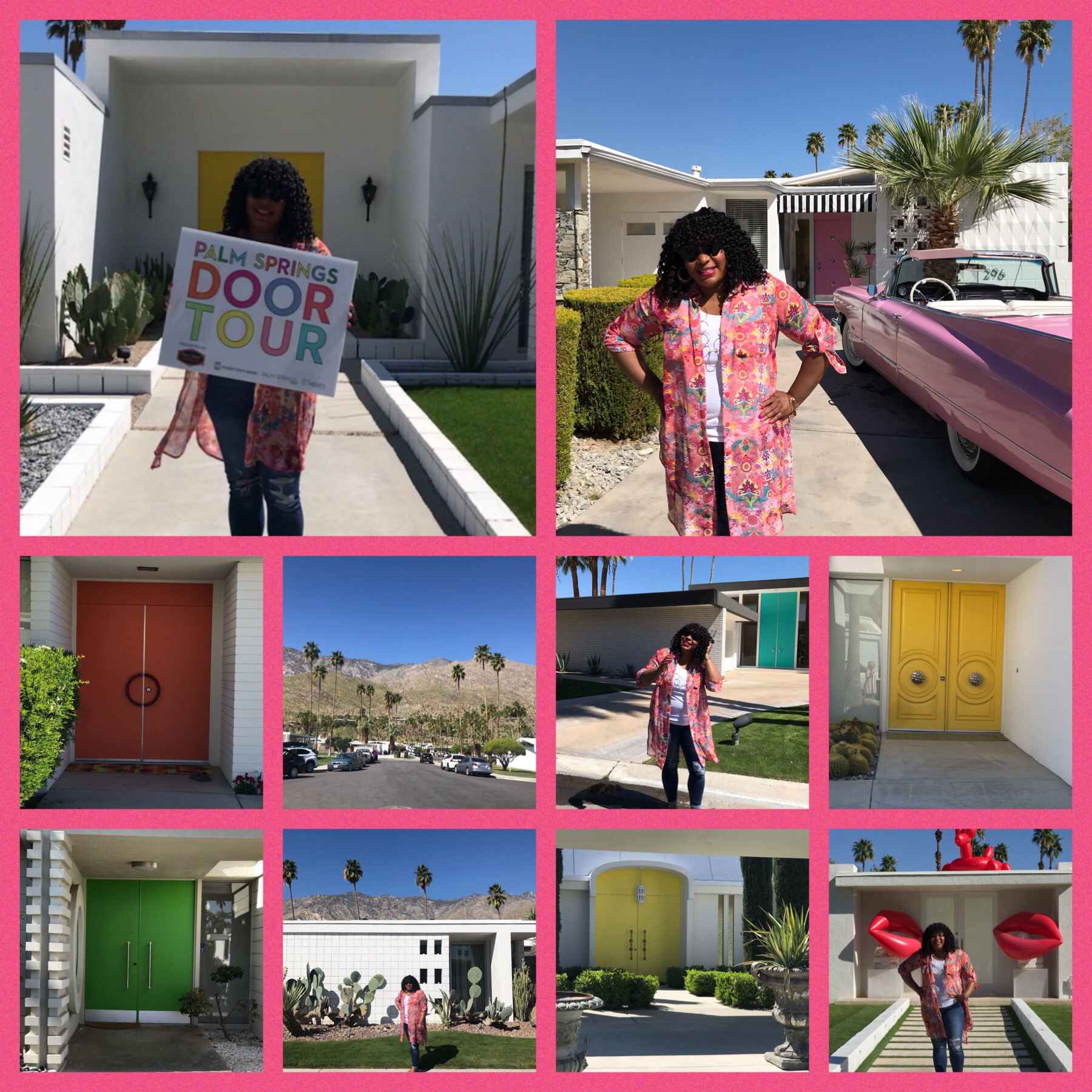 Doors in Palm Springs, CA is a big deal so before I left I went on a Palm Springs Door Tour. I had a blast and was with a group of fun ladies. So fun and worth it. #palmspringsca #doortour #altsummit #livingmybestlife
