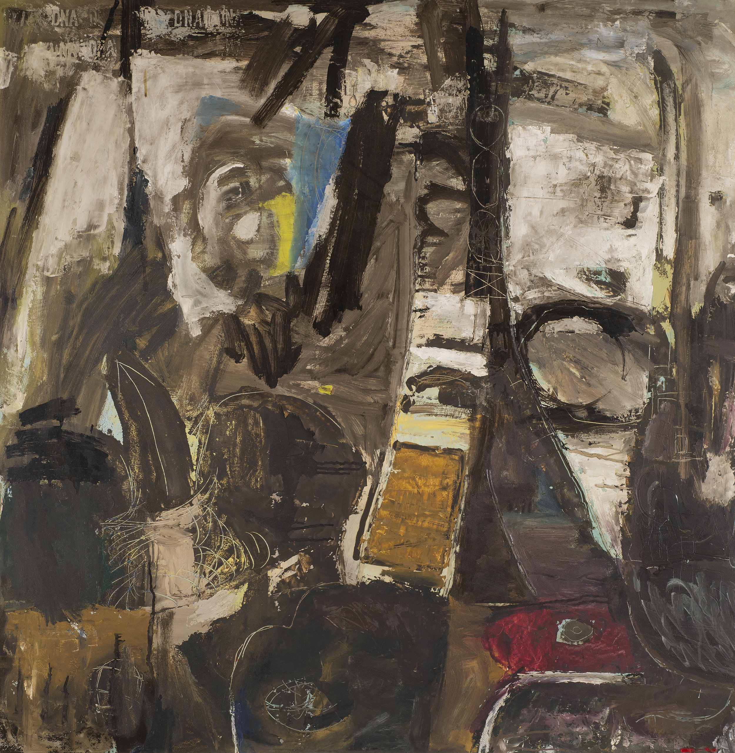 Urban Winter Evening/Jeu , 1958. Oil on hardboard (masonite), 48 x 48 in. (122 x 122 cm.)