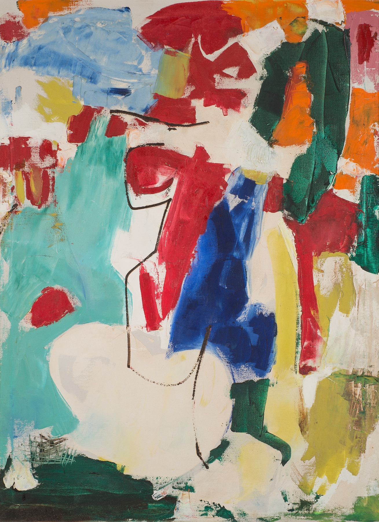 Abstract with Line , 1966. Oil on canvas, 40 x 30 in. (102 x 76 cm.)