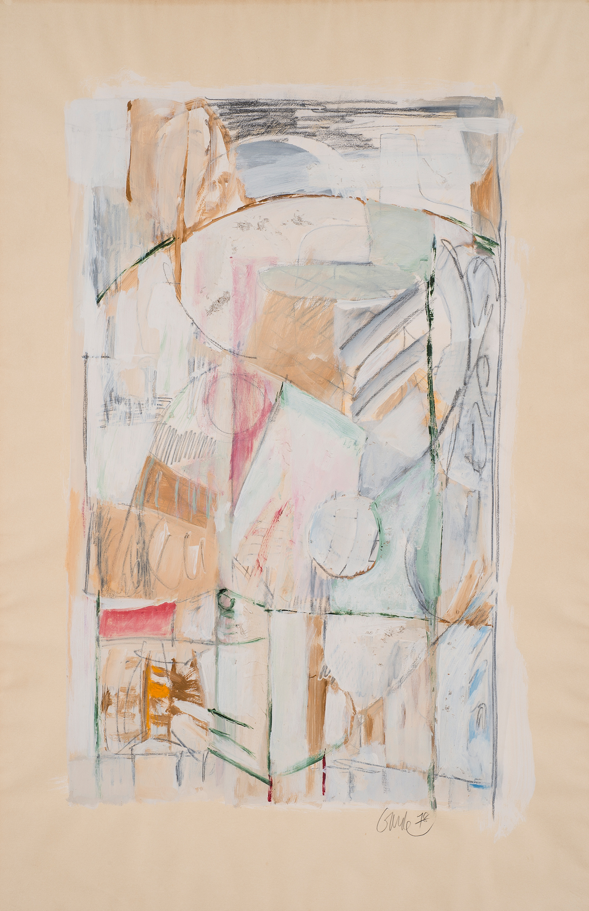 Linear Nonfigurative , 1978. Acrylic, pencil, wood shavings on paper, 42 x 27 in. (107 x 68.6 cm.)