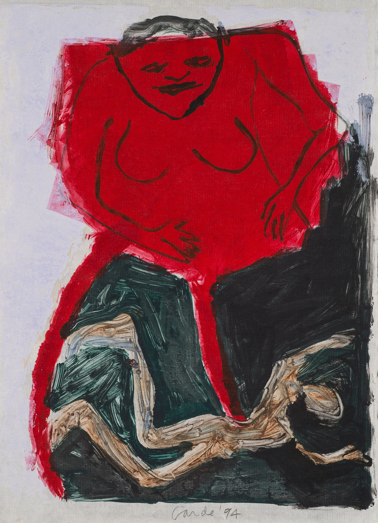Untitled , 1987/1994. Monotype on paper, 17.5 x 13 in. (44 x 33 cm)