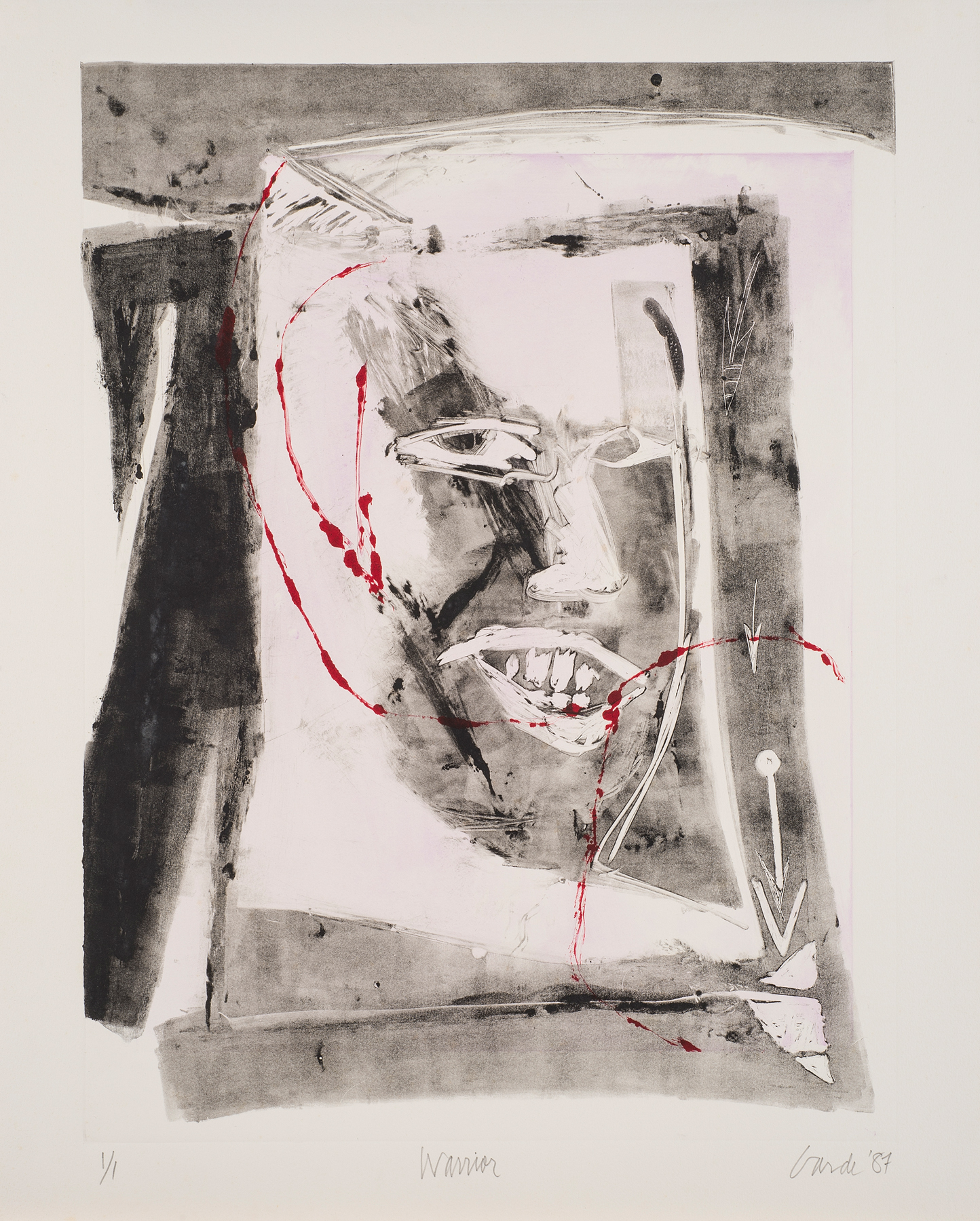Warrior, 1987. Monotype on paper, 27 x 22 in. (68 x 56 cm.)
