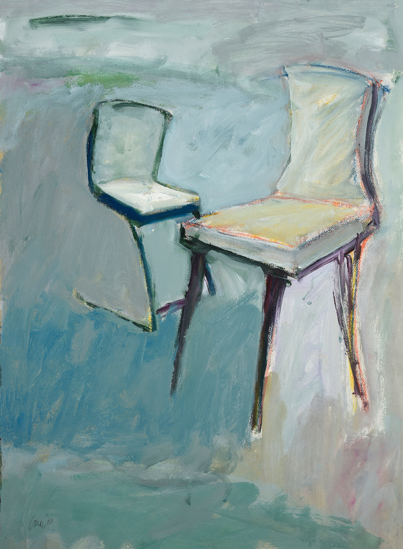 Two Chairs , 1983. Acrylic on Canvas, 30 x 22 in. (76 x 56 cm.)