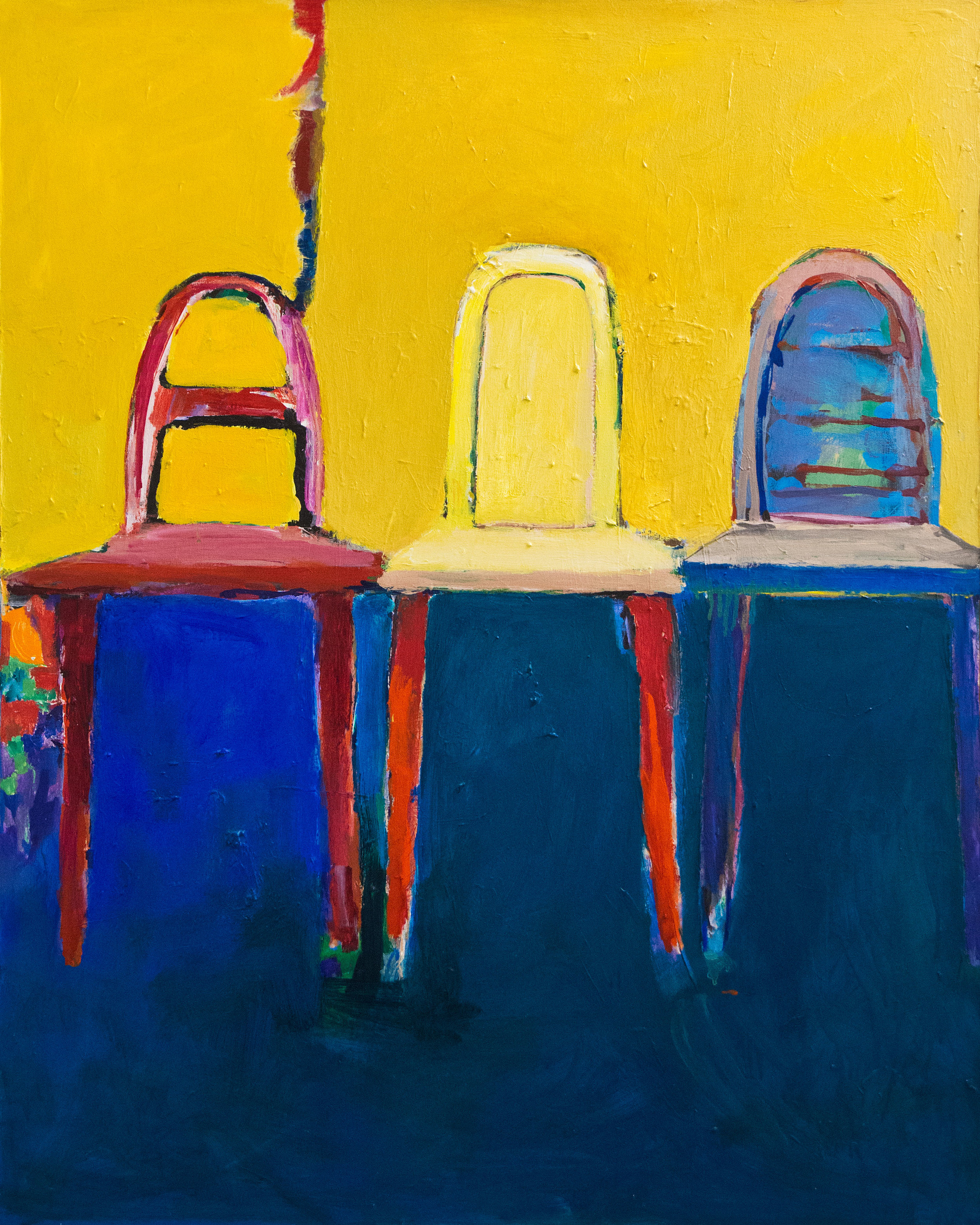 Three Chairs , 1998. Acrylic on canvas, 48 x 36 in. (122 x 91 cm.)