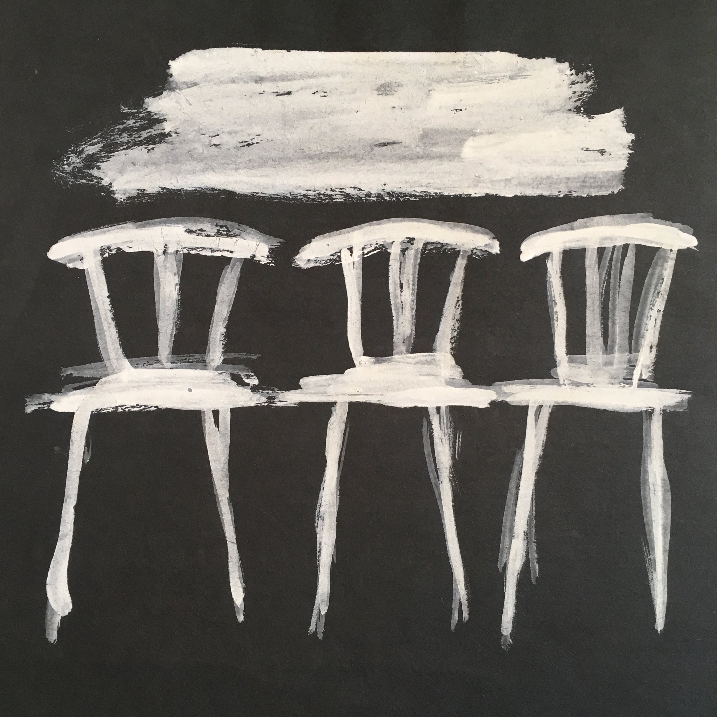 White Chairs , ca. 1980. Acrylic on paper, 9 x9 in. (23 x 23 cm.)