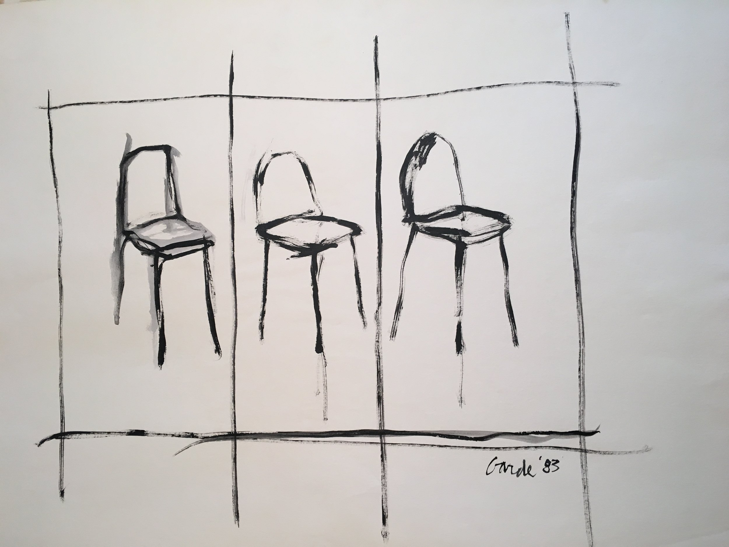 Three  Chairs, 1983. Acrylic on paper, 7 x 11 in. (18 x 28 cm.)
