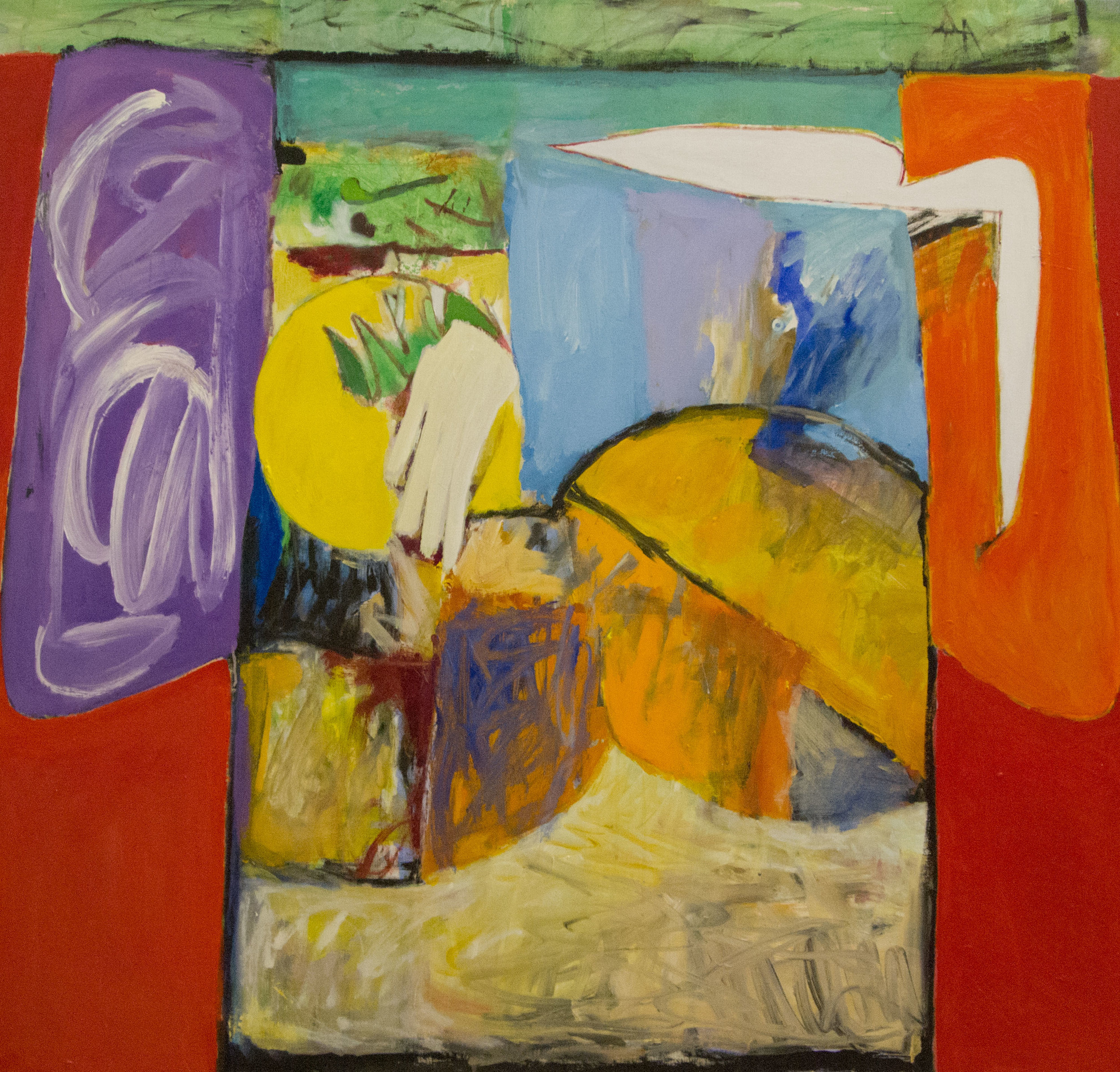 Kimono Against Red, 1997. Acrylic on Canvas, 54 x 58 in. ( 137 x 147 cm.) Collection of The University of Wyoming Art Museum