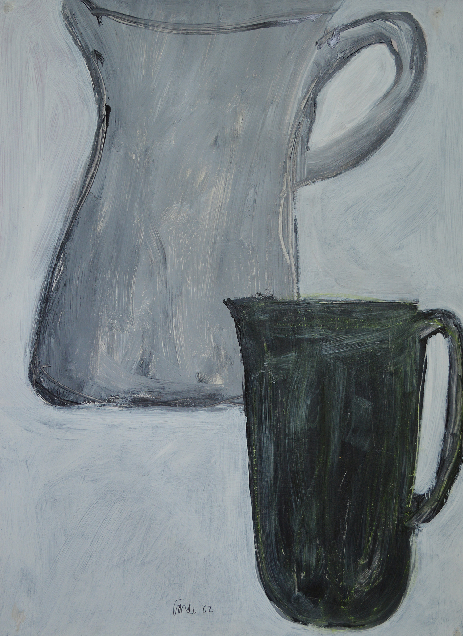 Two Pitchers . 2002.   Acrylic on paper, 30 x 22 in. (76 x 56 cm.)