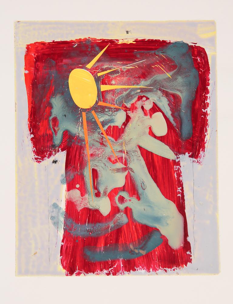 Sunrise Kimono , 2013. Acrylic Strappo mounted on paper, 13 x 20 in. (33 x 50cm.)