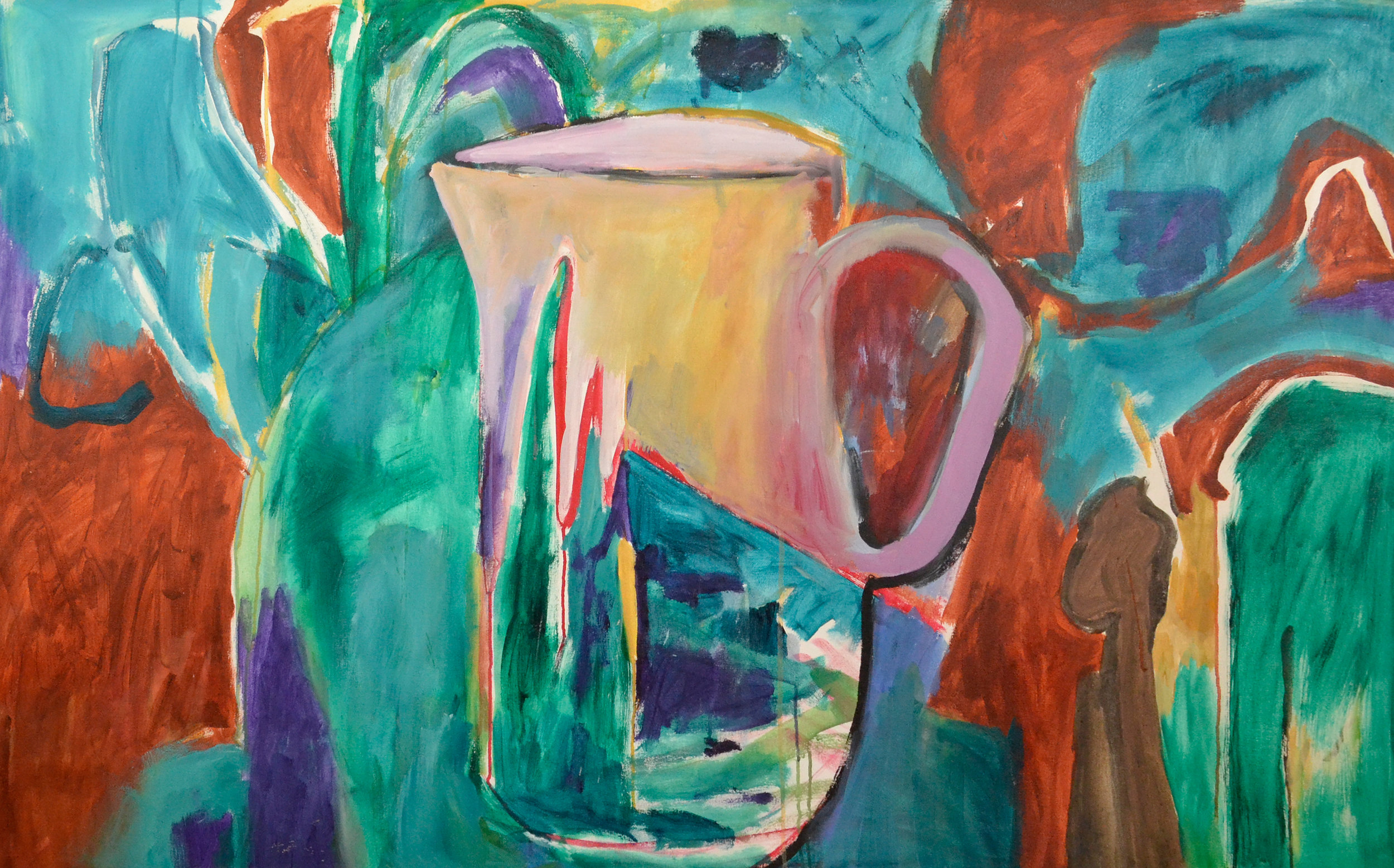 Pitcher,  2011. Acrylic on canvas, 42 x 66 in. (107 x 167 cm.)