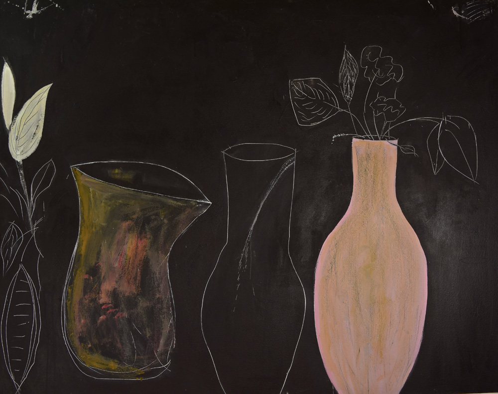 Still Life with Vessel,  2014. Acrylic on canvas, 44 x 56 in. (111 x 142 cm.)