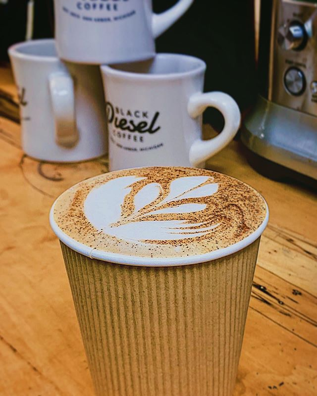 Views from the Training Center ☕️ • Hand-crafted latte (with just a pinch of cinnamon) by @caffe_charles