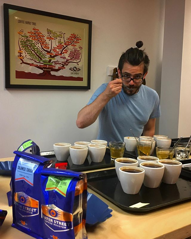 BD Barista School trainer, Charlie, cupping coffees for a pour over bar. • The cupping method enables an objective sensory evaluation of the quality of a given coffee sample. So, @caffe_charles, what's the verdict here?