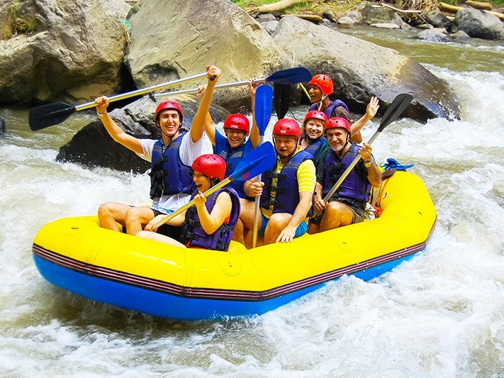 Exhilarating and safe, Ayung rafting is great for the whole family. Guided by expert staff, you make your way through the Bali rainforest enjoying unspoilt natural sights including rapid waterfalls and the brightly coloured Blue Javan Kingfisher. Experience a unique side to Ayung river over the course of a 10km route and take a dip in its gloriously fresh water.   - White Water Rafting at Ayung River - Ubud