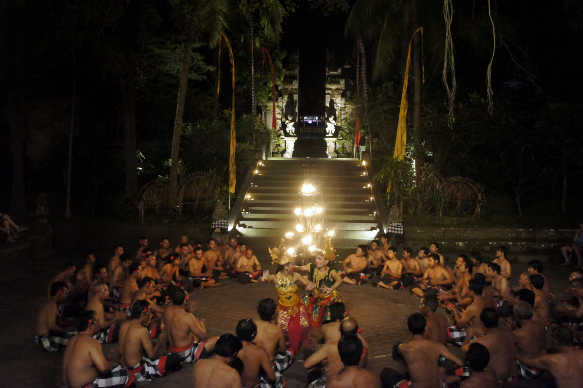 Watch a captivating story unfold in flames, dance, and rhythmic music as the sun dips into the sea. The Kecak story is an excerpt from the Hindu epic Ramayana - developed in the 1930s the dramatic show is popular with tourists. Performed by the Taman Kaja community, the chanting chorus plays musical backdrop to a riveting, death defying performance.  - Kecak Fire dance