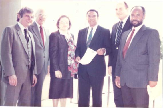 Standing left to right: Laszlo Pallos, GA State; Harry Wadsworth, GA Tech; Gladys Reynolds, CDC; Mayor Young; Mike Kutner, Emory; Tom Jenkins, CDC.