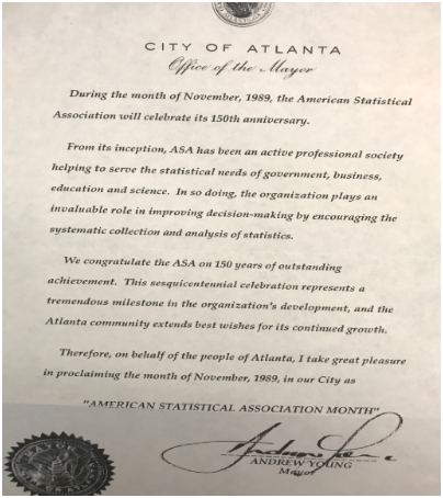 """November 1989 proclamation of the City of Atlanta declaring """"American Statistical Association"""" month."""