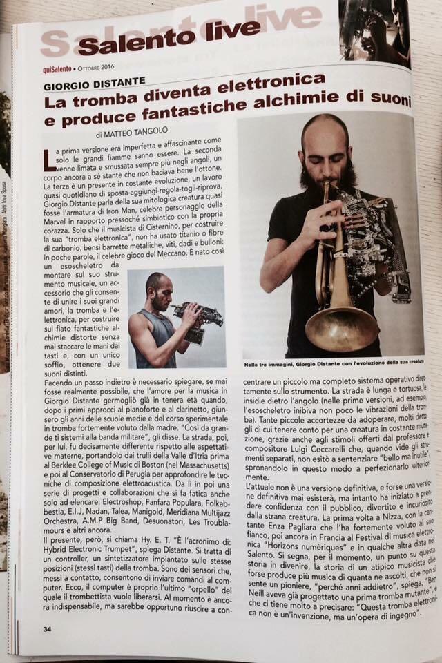 LA tromba diventa elettronica e produce fantastiche alchimie di suoni // Matteo Tangolo // quiSalento Ottobre 2016