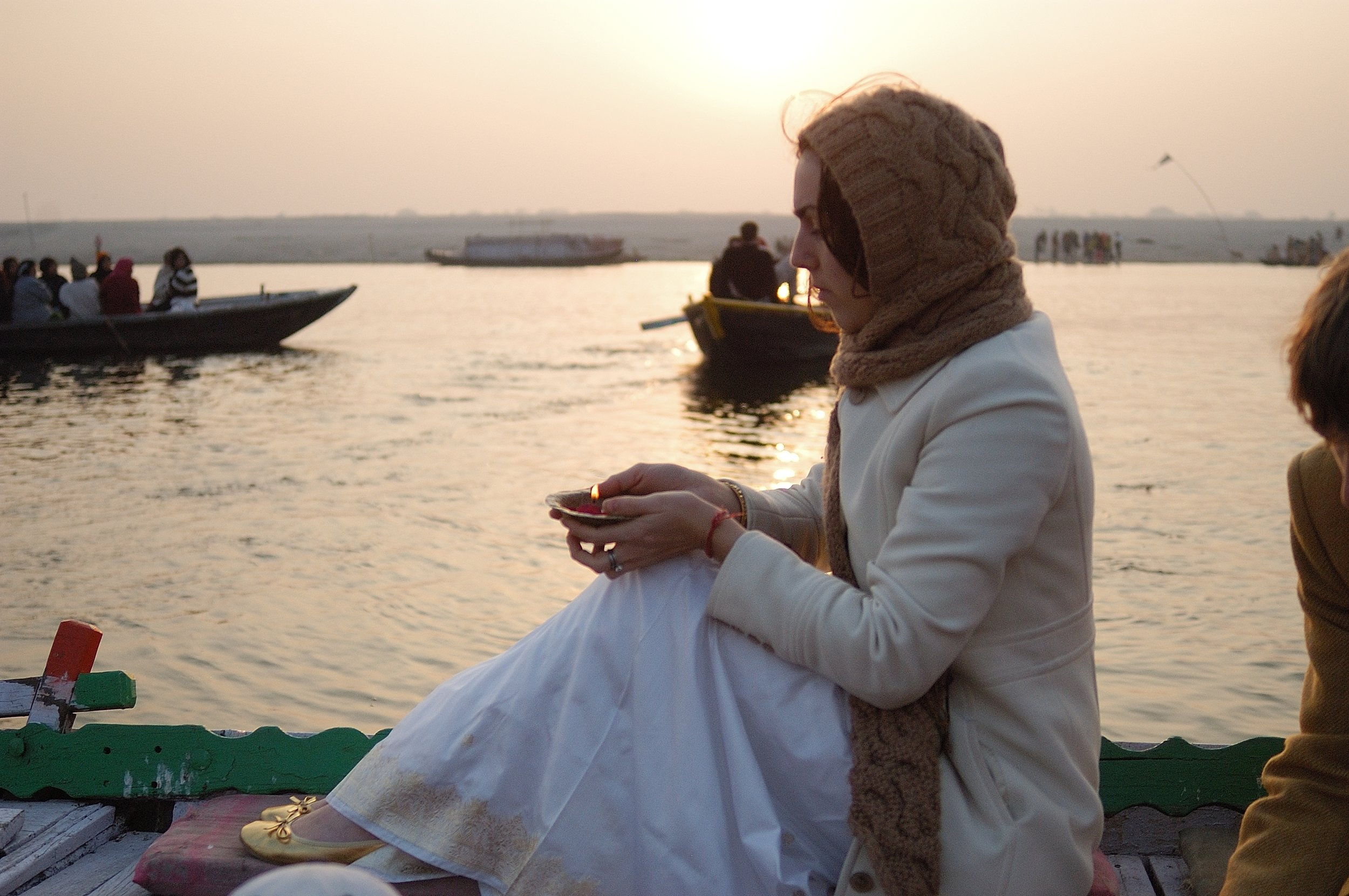 Sunrise prayers, Varanasi, India. Photo: Mel Sauerbeck.