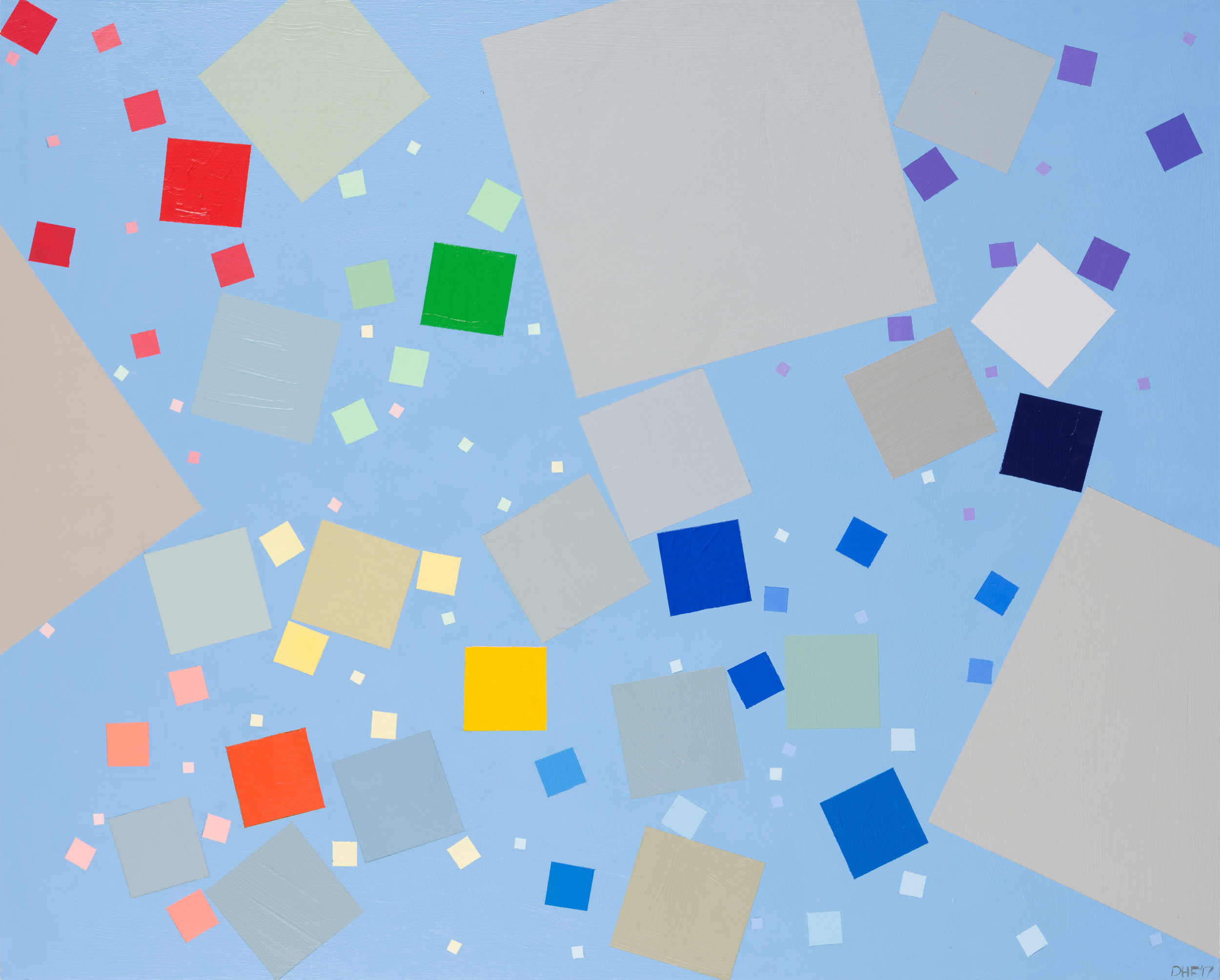 """Refugee Spectrum Pixels, 24""""x30"""", acrylic on panel, 2017"""