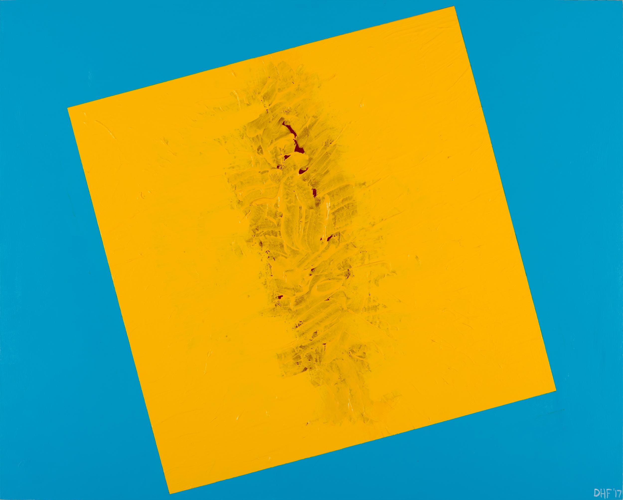 """One pixel #1 yellow on blue, 24""""x30"""", 2017, acrylic on panel"""