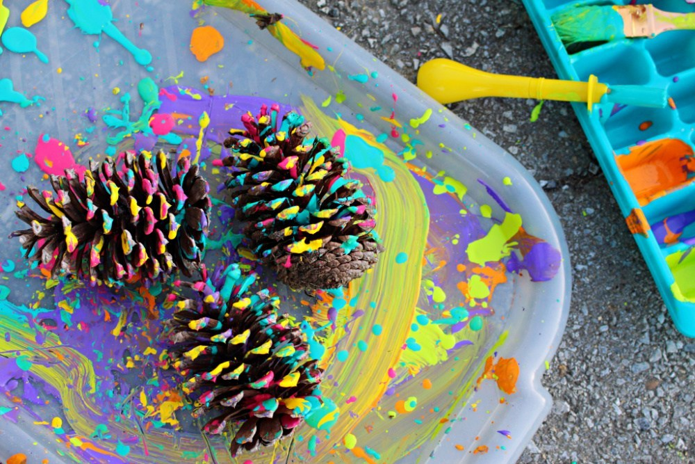 Pine Cone Craft: Splatter Painting by Erica