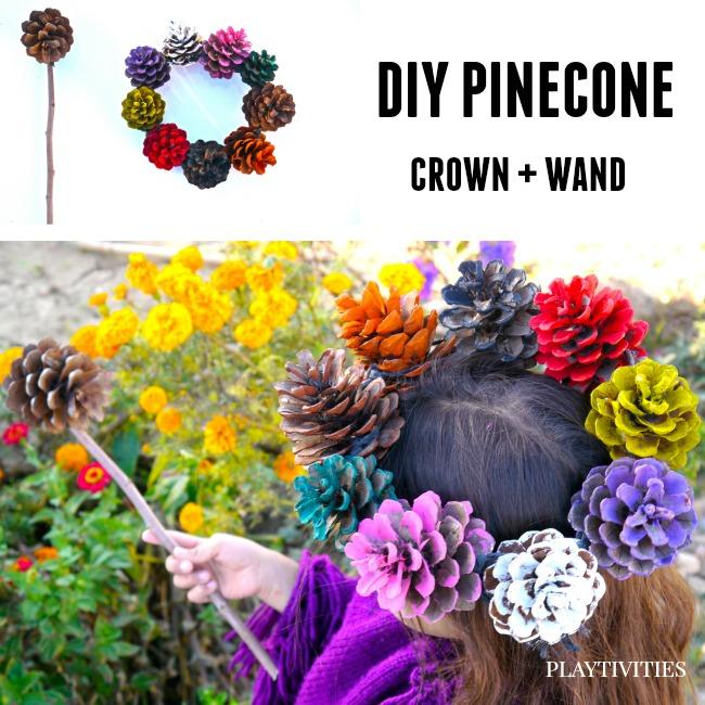 DIY Pinecone Crown + Wand by Birute