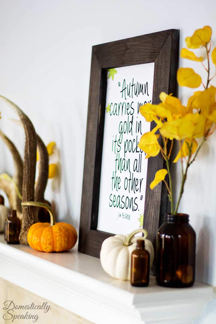 Here she uses found objects with store-bought basics to tie together a vibrant autumn mantel.
