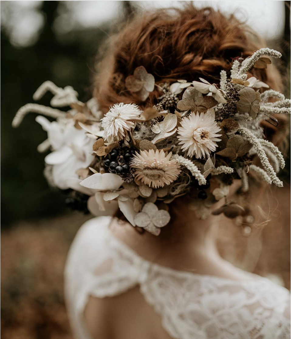 Dried & Fresh Flower Crown ;  Flowers by Rachel Grimes ;  Photography by Elena Popa ;  Styling by Butler & White