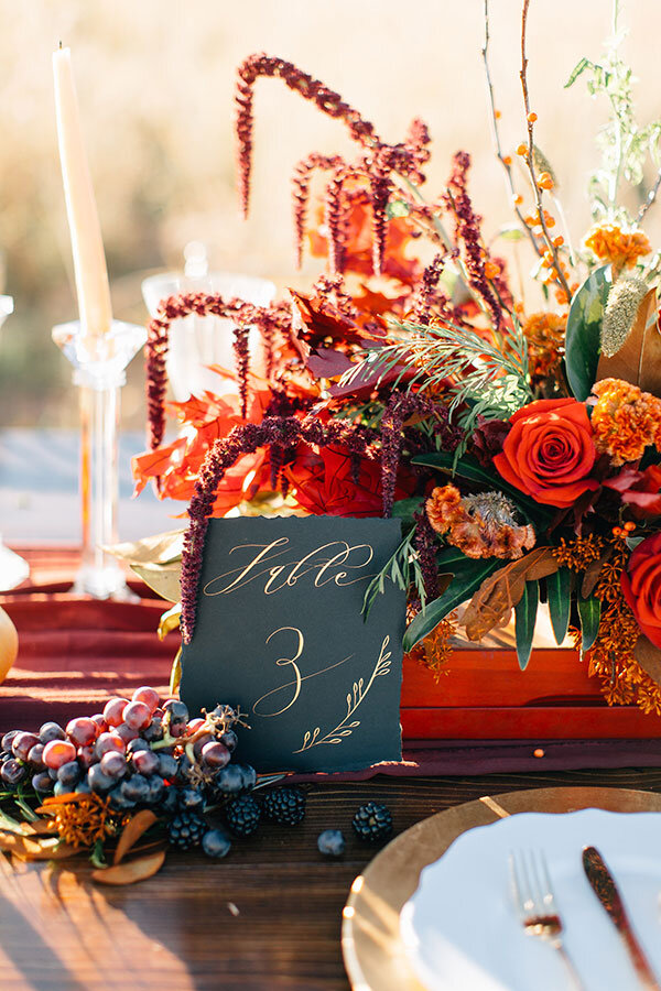 Gold and Crimson Fall Wedding Inspiration from Ruffled