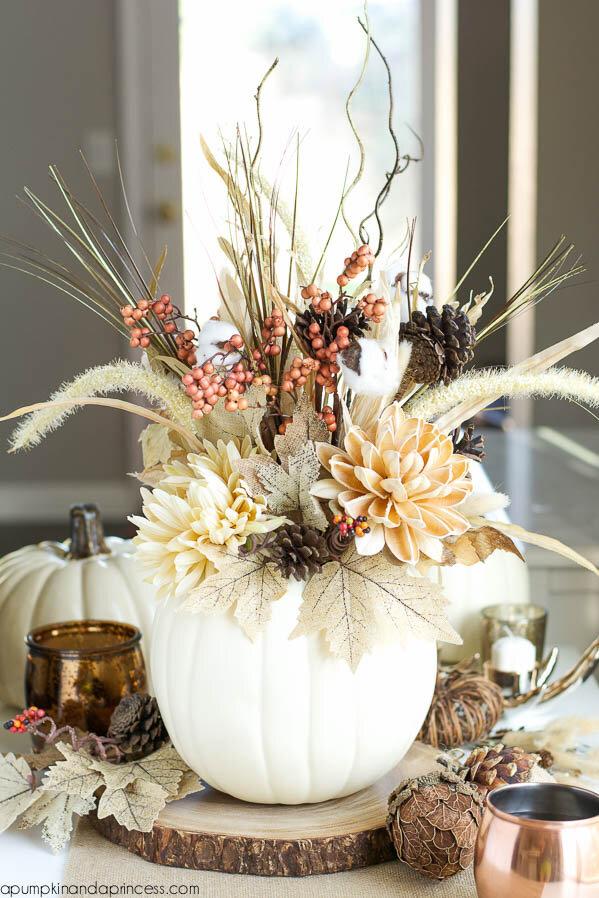 DIY Pumpkin Vase Centerpiece by Crystal