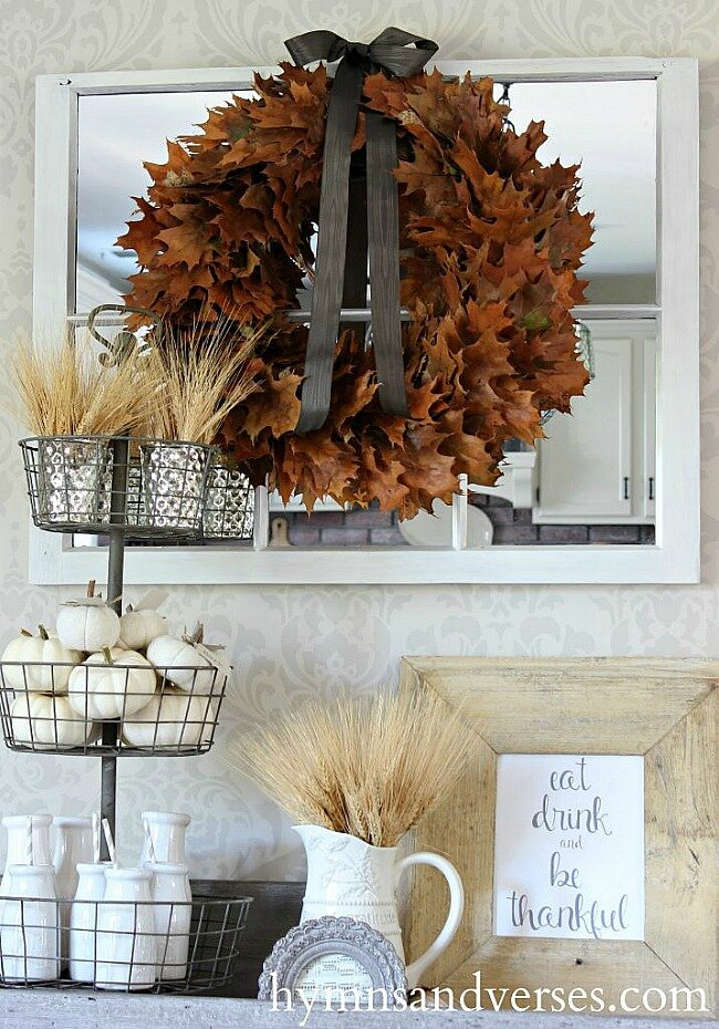 This Oak Leaf Wreath DIY is super easy AND very eye-catching. All you need are oak leaves (try our preserved ones if you want to keep your wreath year over year), a straw wreath form, and floral pens!