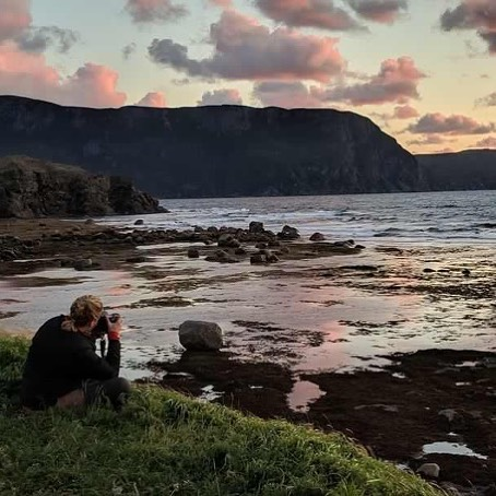 The ne from my roommate- just because it is nice to be in the frame sometimes! Great first day in #grosmorne and a #perfectsunset to finish.
