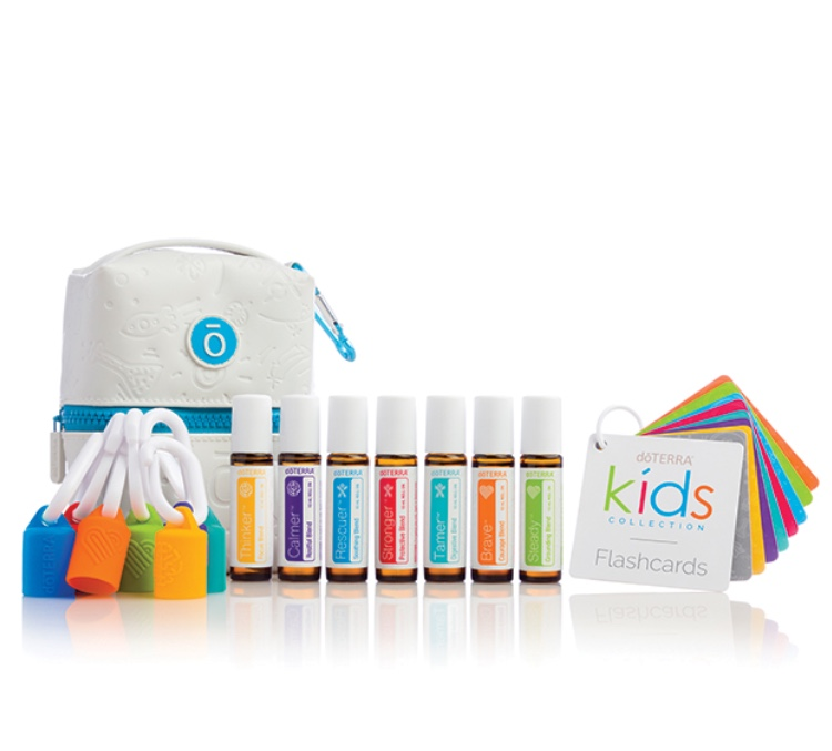 The Kids Collection  from DoTerra is SO fun for both parents and children to play with and have around!  UPDATED 2019 KIT  contains 7 blends (new  Tamer digestive blend ) that are completely unique from DoTerra for  mind, body and heart and are perfectly diluted for children 3 and up and those with sensitive skin , this kit also comes with:  -Cute zip pouch to store oils safely and securely  -Educational colored flashcards to learn about each blend and how to use them  -Colored carabiners/hooks on the bag and each oil bottle for individual use  P.s.:  individual blends  are available for purchase, too!