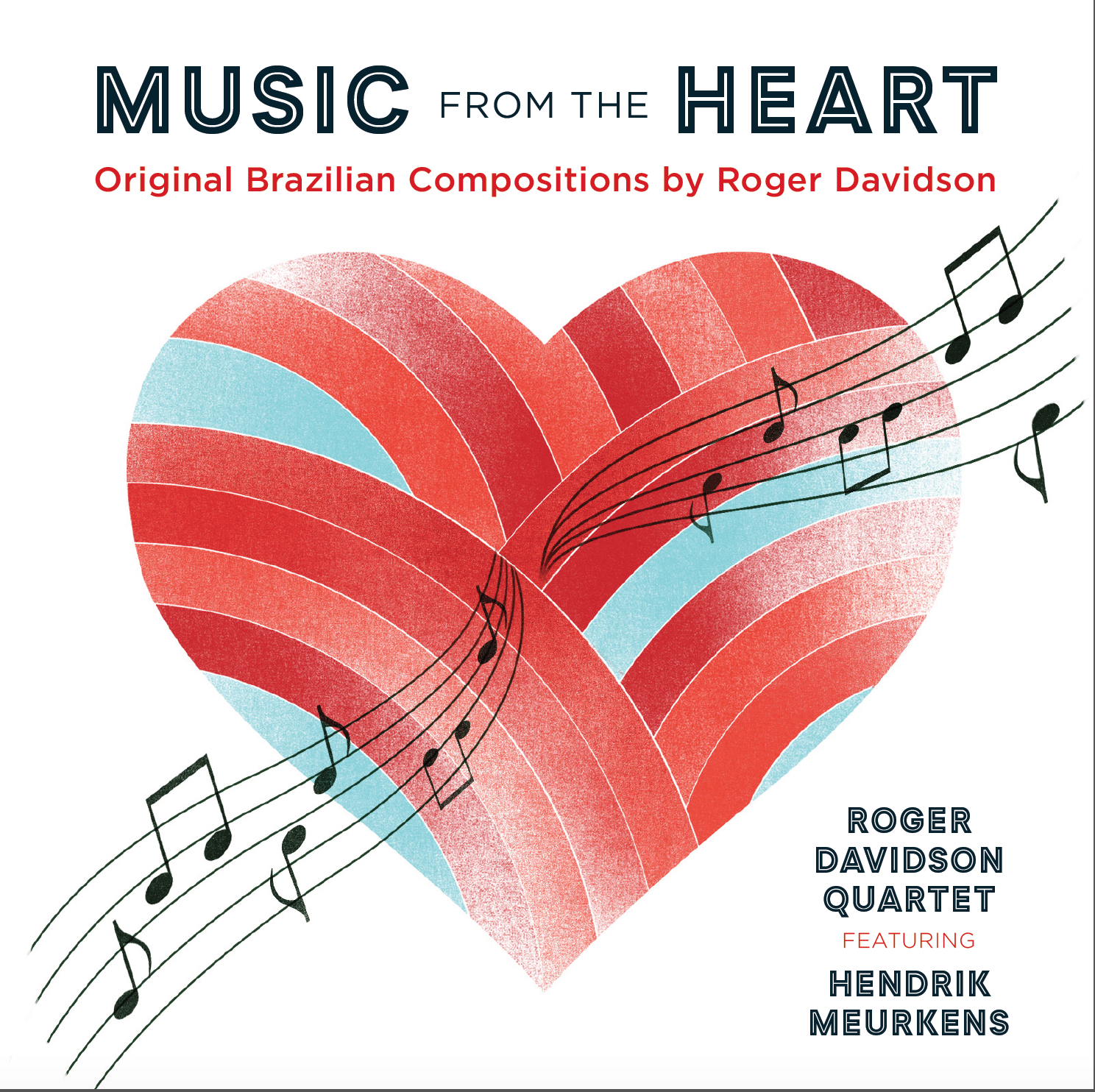 Music From The Heart - As a pianist, composer, and a fearless explorer of worldwide musical landscapes, Roger Davidson is uncategorizable, yet distinctive. He's an endless font of melody and positive spirit; and whether the music is classical, Latin, Brazilian, klezmer, sacred, or jazz, he finds the common threads.Music from the Heartis his second album with Hendrik Meurkens, arguably the premier living master of jazz harmonica and a celebrated vibraphonist as well. This set of original Brazilian-flavored songs is in large part a love letter by Roger to his wife Nilcelia. Joined by two of Brazil's finest musicians, drummer Adriano Santos and bassist Eduardo Belo, Roger and Hendrik take an exuberant ride through some of Roger's latest music, including a jazz samba (My Love Is Only You); a romantic, French-flavored bossa nova (Celia); a playfulchorinho(O Mico)that evokes a Brazilian monkey; andSamba de Alegria, a rollicking party for the whole quartet.Music from the Heartis an album that was created to lift spirits and instill hope.