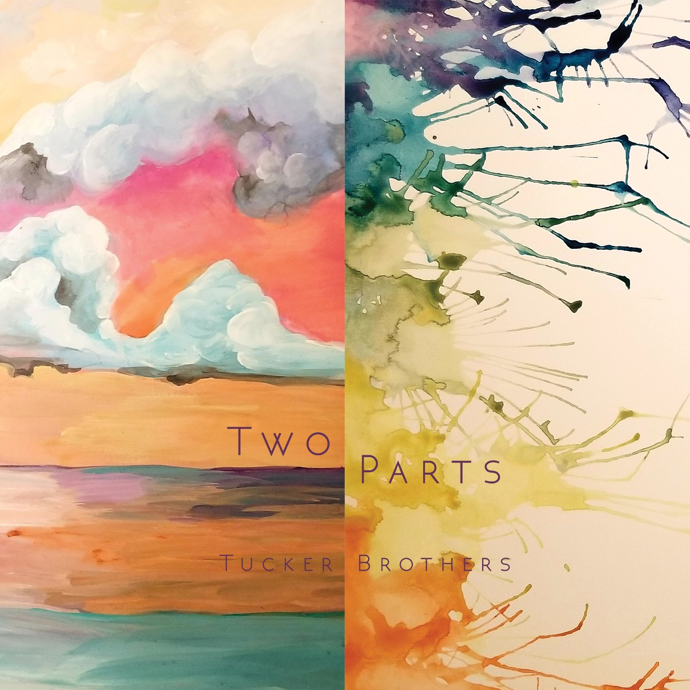 """Tucker Brothers - The title track, """"Two Parts"""", represents the essence of the music: duality of life, the two sides ofeach coin, respect for the past and future, and at the very core - the two brothers themselves.This record is deeply expressive, playful, curious, and places a uniquely equal emphasis oncomposition and improvisation."""