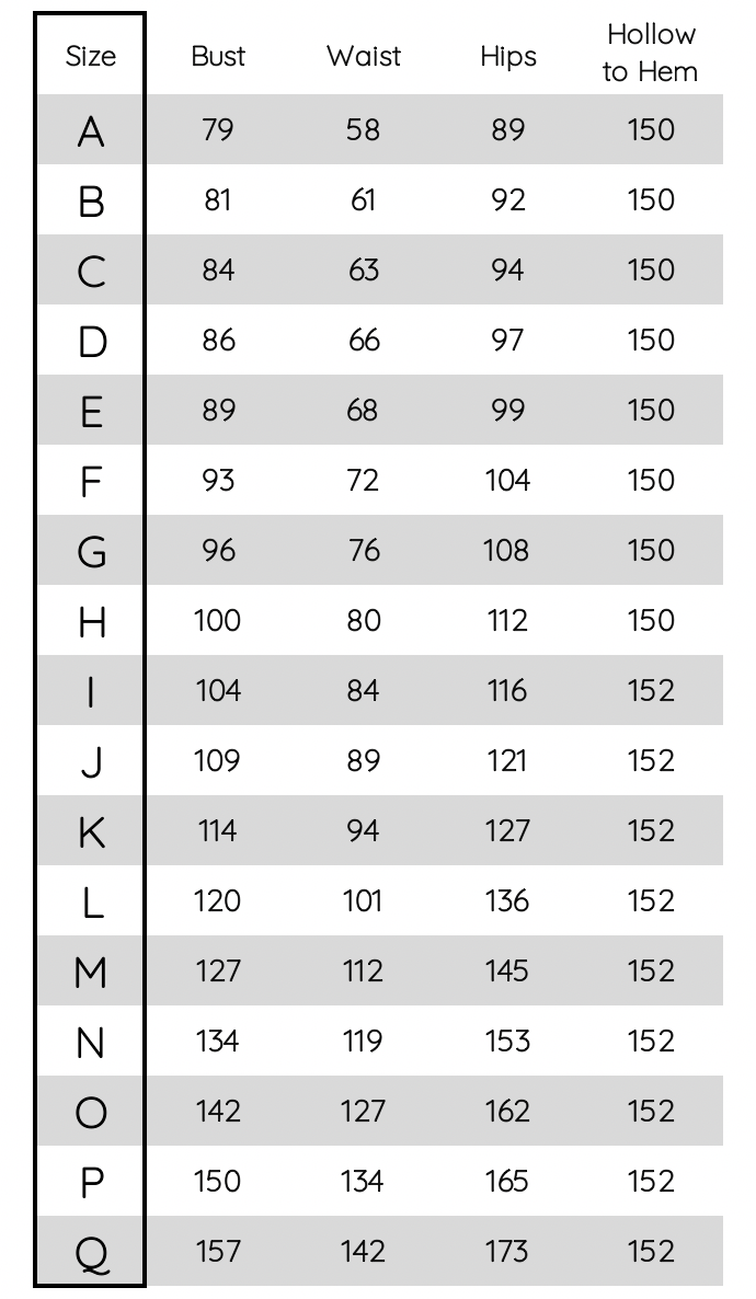 BFbridesmaids size guide