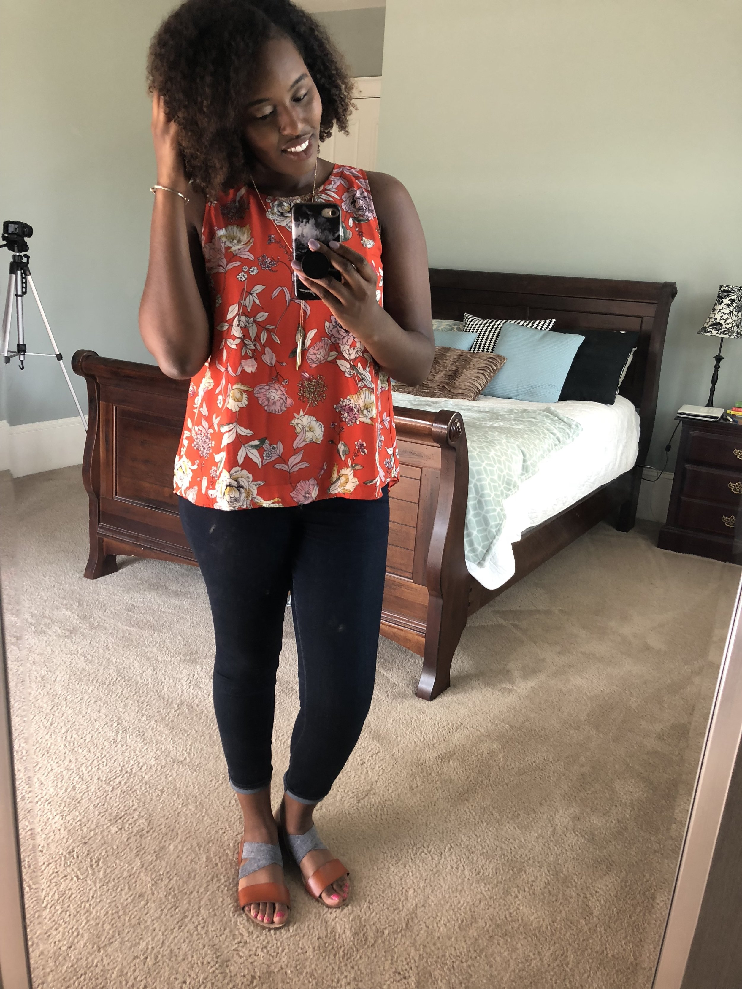 Teaching outfit, long top, floral top, first week of classes, ootw, The Academic Society