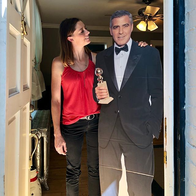 Someone is looking quite handsome today!  I mean the tux is a lot and aren't you hot, George?  But you never do anything less than 120%, I know. Open houses = tuxes.