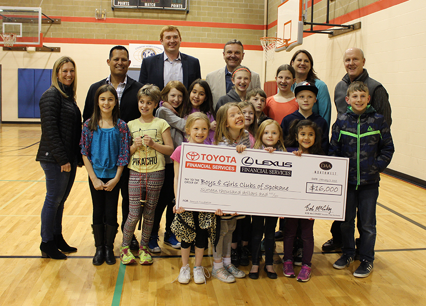 Toyota Financial Services' Area Representative John Martinez recently joined DAA Northwest's Bob McConkey and David Pendergraft in presenting $16,000 to Boys & Girls Clubs of Spokane County