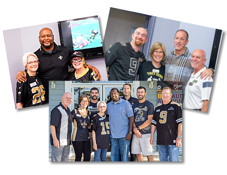 Football favorites visiting Louisiana's 1st Choice Auto Auction at past Tailgate Sales include Deuce McCallister (left); Jim Kelly (right) amd Devery Henderson (below, center). This year, the auction looks forward to meeting New Orleans Saints Cornerback Tracy Porter.